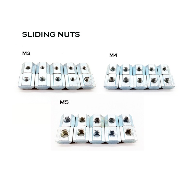 2020 Sliding Nut M3/ M4/ M5- 10pcs