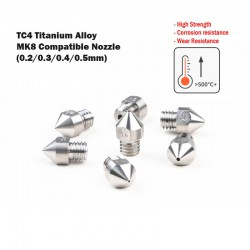MK8 Compatible TC4 Titanium Alloy Nozzle - 1.75mm Filament