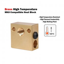 Brass High Temperature MK8 Compatible Heat Block for CR10 Series and Ender 3