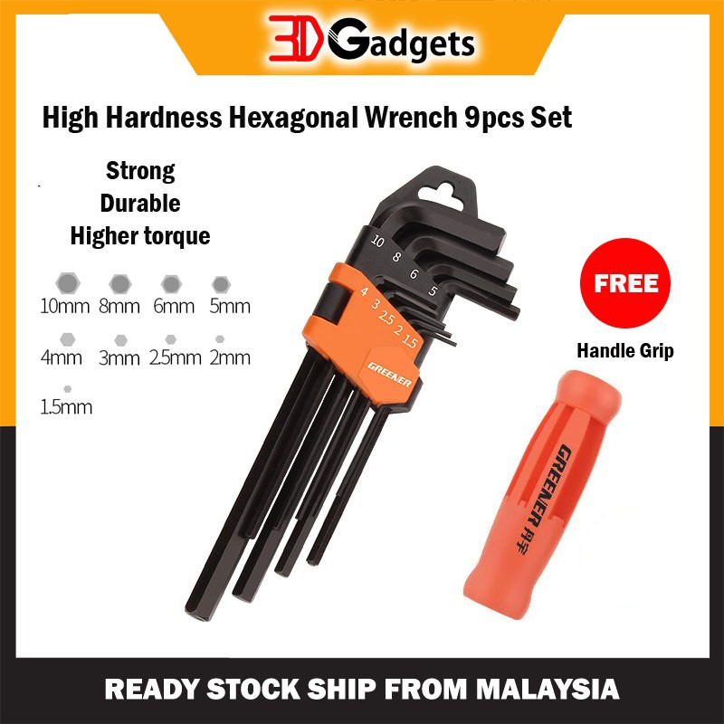 High Hardness Hexagonal Wrench 9 pcs Set 3D Printer Tool