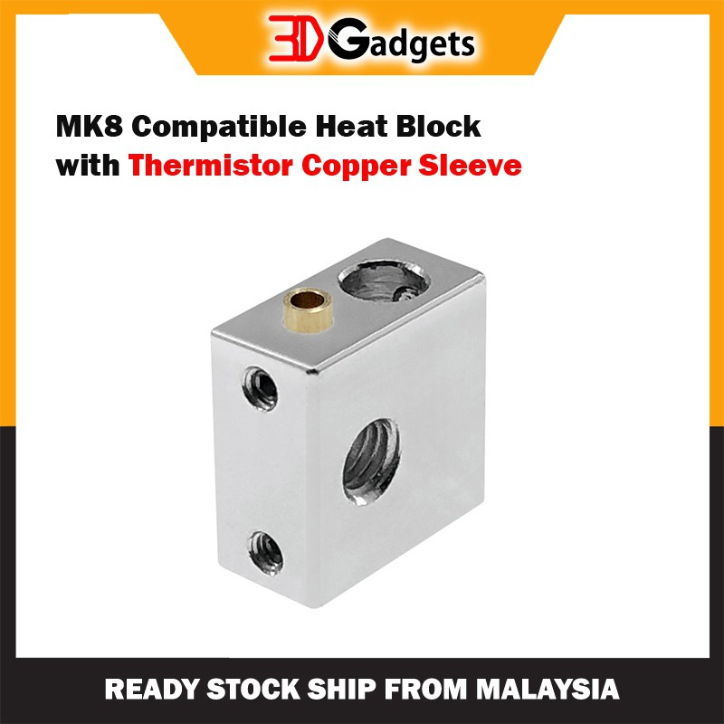 MK8 Compatible Heat Block with Thermistor Copper Sleeve