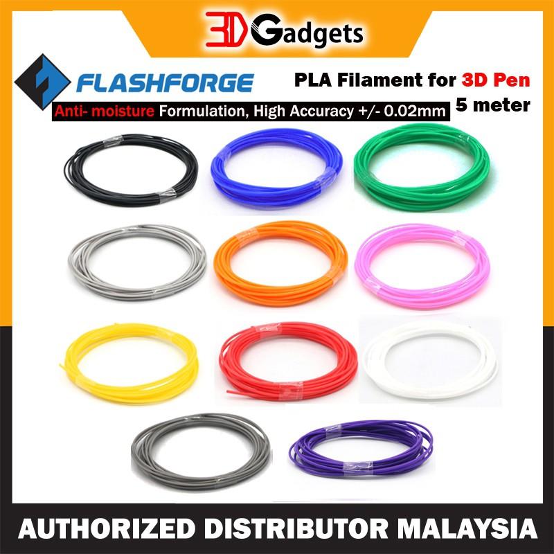 FlashForge PLA 1.75mm Filaments for 3D Pen - 5 Meter 3dpen