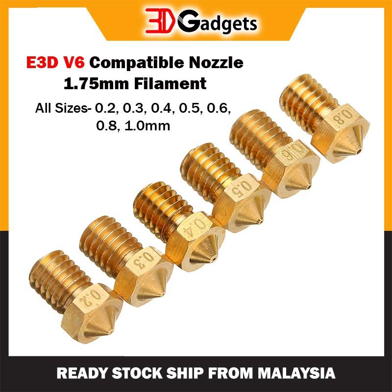 E3D V6 Compatible Nozzle - 1.75mm Filament (All Sizes)