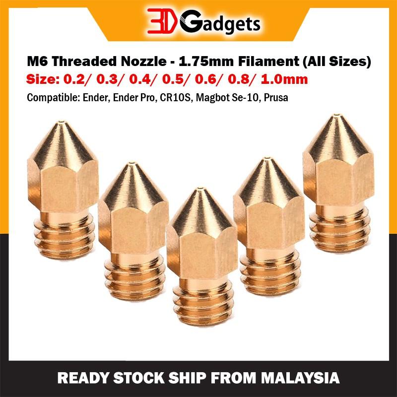 M6 Threaded 0.4mm Nozzle - 1.75mm Filament
