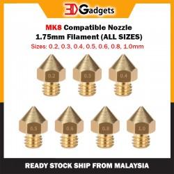 Mk8 Compatible Nozzle - 1.75mm Filament (All Sizes)