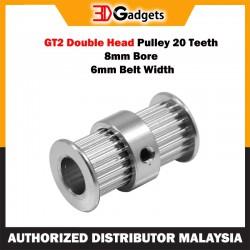 GT2 Double Head Pulley 20 Teeth 8mm Bore 6mm Belt Width