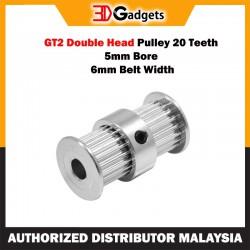 GT2 Double Head Pulley 20 Teeth 5mm Bore 6mm Belt Width