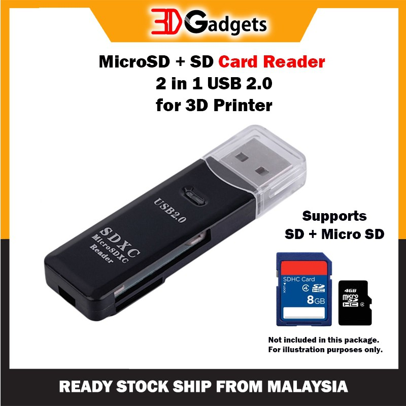 MicroSD & SD Card Reader  2 in 1 USB 2.0 for 3D Printer