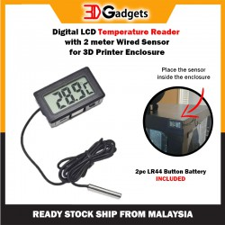 Digital LCD Temperature Reader with wired sensor for 3D Printer Enclosure